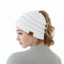 Knitted Hat Messy Bun Ponytail
