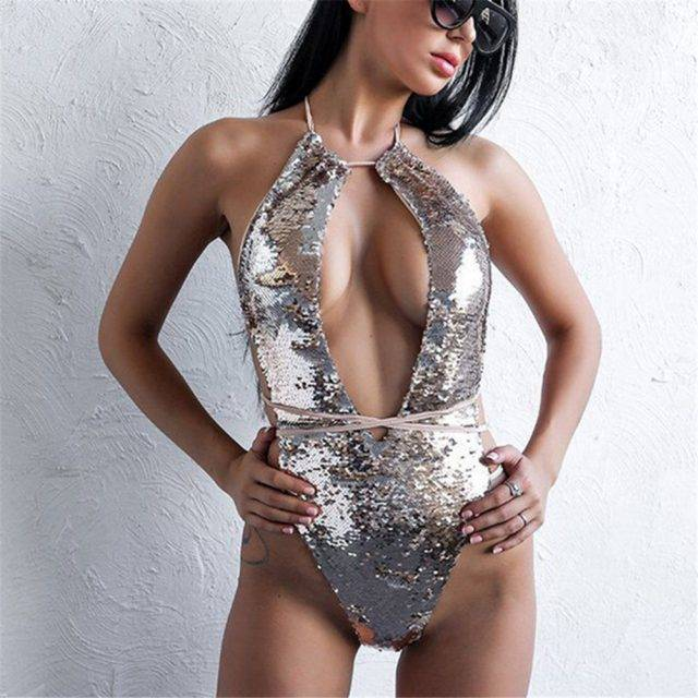 Sequin One Piece Swimsuit Bandage Bikini